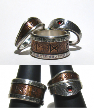 Runes his & her's  wedding bands - copper, silver, Garnet