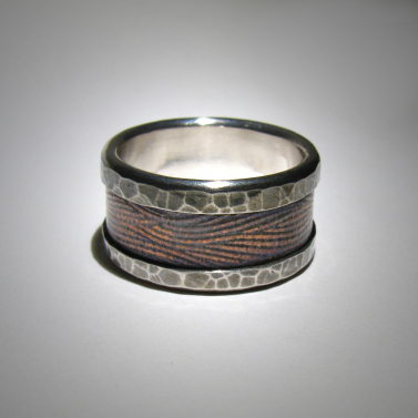 Mixed metal wedding band - copper, silver