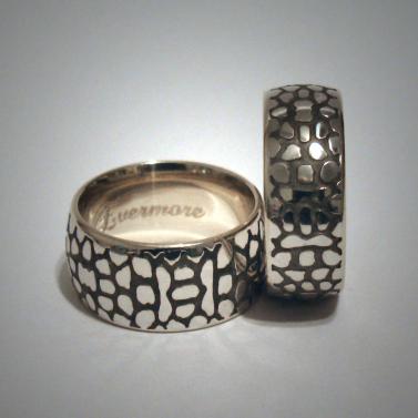 Snake skin wedding bands - 14K white gold