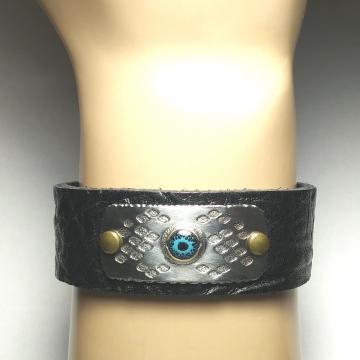 Eye of the Serpent - Snakeskin Pattern Rustic Textured Bracelet