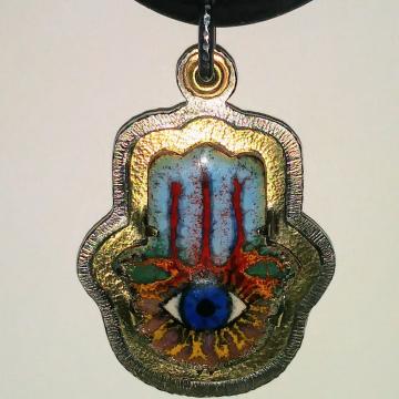 Hamsa Enamel pendant - stainless steel, brass, titanium bail