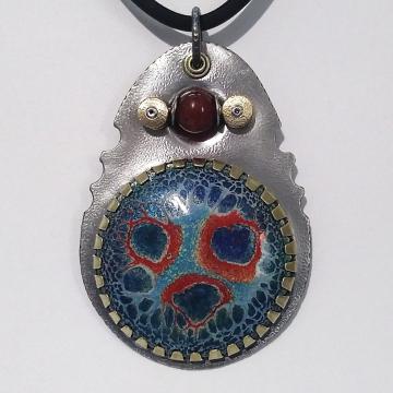Teardrop Abstract Contemporary Enamel Kinetic Carnelian Pendant Necklace