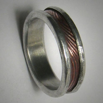 Rustic Men's Women's Wedding band, Unique Textured Mixed Metal Promise Ring