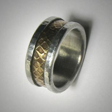 Rustic Men's Women's Wedding band, Unique Textured Mixed Metal Ring