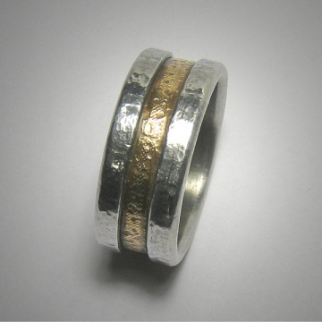 Mens or Womens Rustic Wedding band, Unique Textured Mixed Metal Wedding Ring