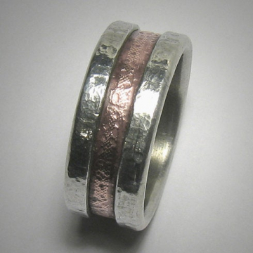 Rustic Men's Women's Wedding band, Unique Textured Mixed Metal Wedding Ring