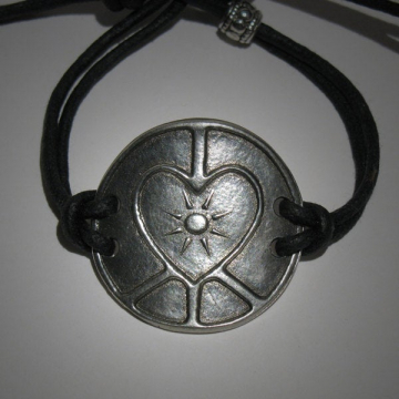 Peace Sign Love Sign Interfaith Multifaith Art Bracelet adjustable Mens Womens Hippie Spiritual Unisex Jewelry