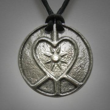 Boho Peace love light pendant Interfaith Multifaith Peace adjustable cord Mens Womens necklace Peace Symbol Hippie Peace