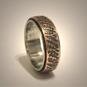 Rustic Mens Womens Wedding Band, Hammered Textured Unique Ring