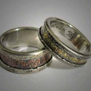 Mixed metal wedding bands - copper, brass, silver