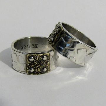 Mixed metal wedding bands - silver, brass