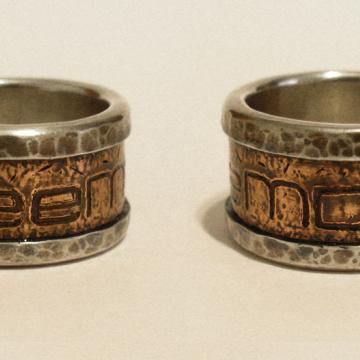 Monogram ring - copper, silver