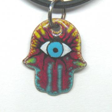 Hamsa Enamel pendant, titanium bail